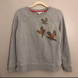 Boden bird embroidery crew neck sweater